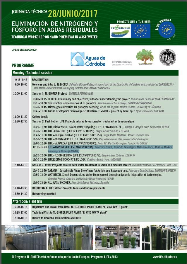 """AIDIMME presenta el proyecto LIFE-EMPORE en la Jornada Técnica """"Eliminación de Nitrógeno y Fósforo de Agua Residuales"""" organizada por el proyecto LIFE TL BIOFER"""
